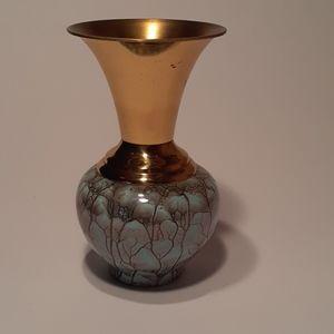 Mid Century Delft Holland Brass Vase